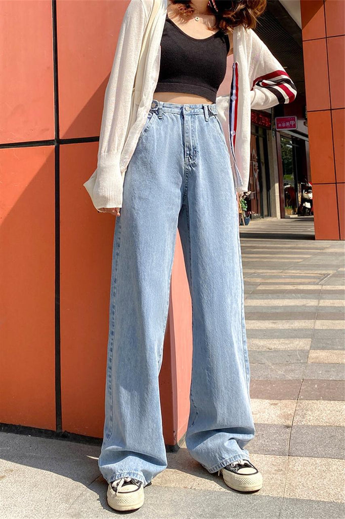 Woman Jeans High Waist Wide Leg Denim Straight Pants