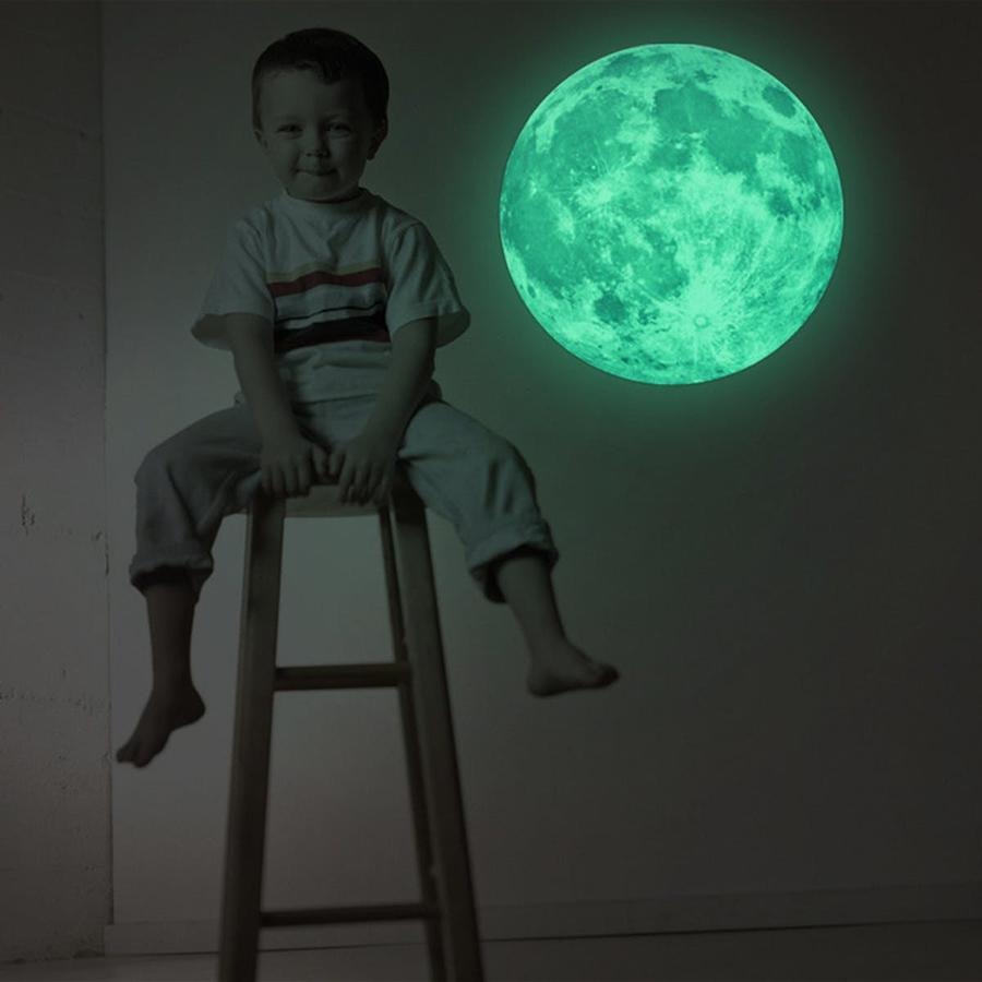 30cm Glow in the Dark Moon Wall Sticker Decorative Removable Night Decal