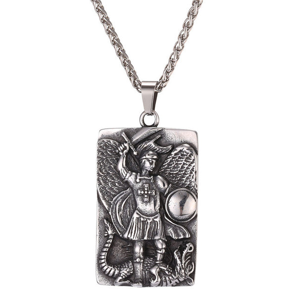 Stainless steel bigsquare michael archangel pendant necklace stainless steel bigsquare michael archangel pendant necklace christian religious aloadofball Choice Image