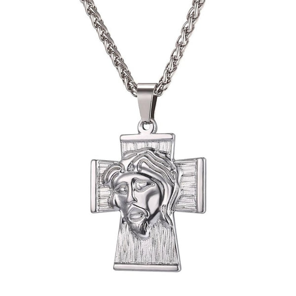 round out piece with chain iced box products stainless steel jesus pendant set necklace