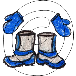 Bottes et mitaines  bleues /  Blue boots and mittens