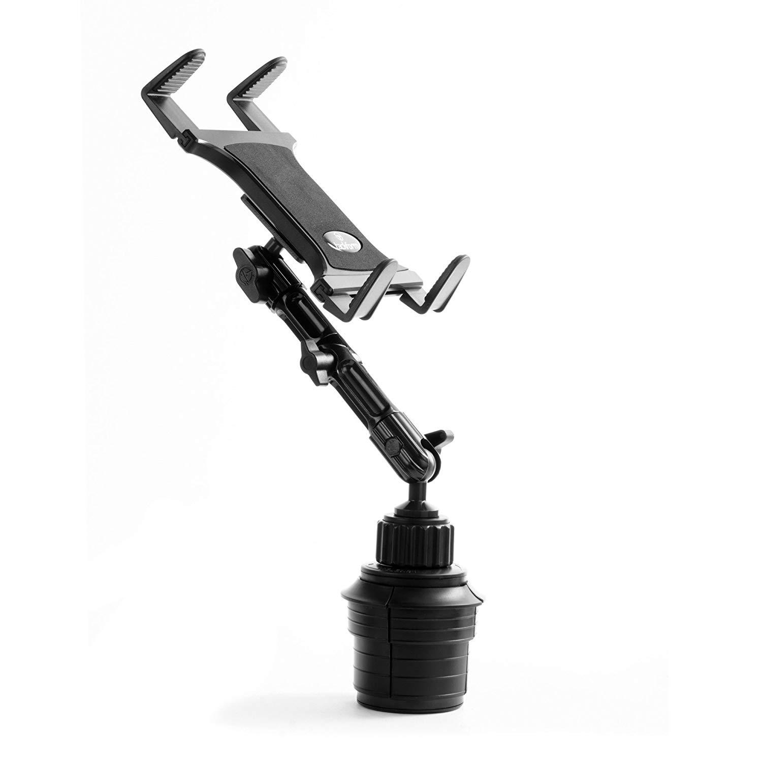 Cupholder base with all metal arm and spring loaded tablet cradle.