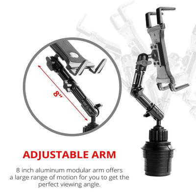 Dual ball joint arm with locking elbow allows infinite positions.