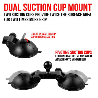 "Dual Suction Cup Mount | 1""/25mm Ball"