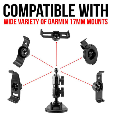 "Suction Cup Mount for 17mm holder | 3.5"" Stud Arm 