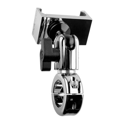 "Enduro Series™ CHROME Motorcycle Phone Mount | Short Reach Arm | Bar Mount Clamps on 7/8"", 1"", 1-1/8"", 1-1/4"" Bars 