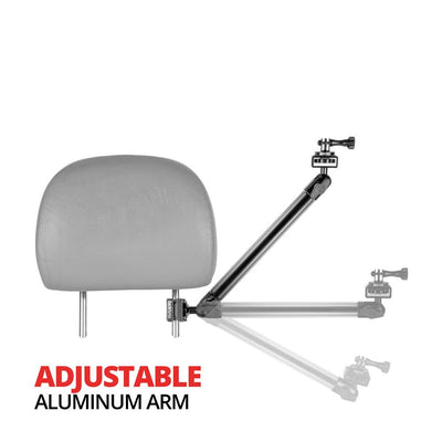 "Headrest Mount for GoPro and Other Action Cameras | 11"" Long Aluminum Shaft Arm 