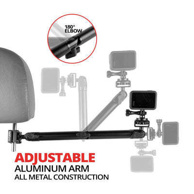 "Headrest Mount for GoPro and Other Action Cameras | 12.25"" Long Aluminum Shaft Arm 