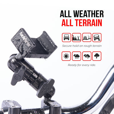 All weather, all terrain phone mount for Japanese, European, and American motorcyces. Mounts easily on handlebars, or anywhere else.