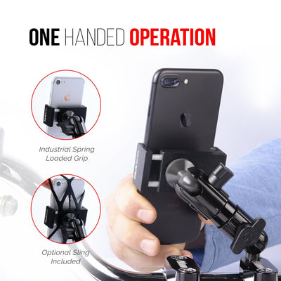 This heavy duty mount is designed to securely hold your phone to your motorcycle. Mounts at the handlebars or any other M8 bolt.