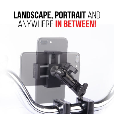 The ball and socket joint on this motorcycle mount allows landscape or portrait viewing of your phone.
