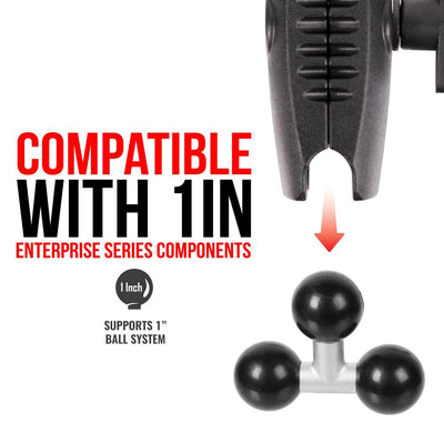 Triple 1 inch Ball T-Shaped Adapter | Metal Shaft | Rubberized Balls
