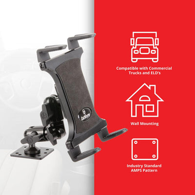 "Compact Drill Base Tablet Mount | Vehicle and Wall Mountable | 4.5"" Modular Arm 