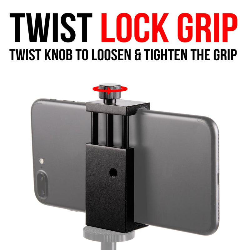 Phone Holder | Twist Lock Grip | Dual 1/4-20 Threaded Holes
