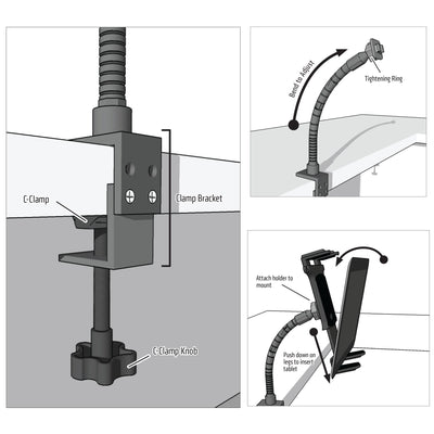 "Tablet Holder for Desk or Workbench | Industrial 12"" Gooseneck 