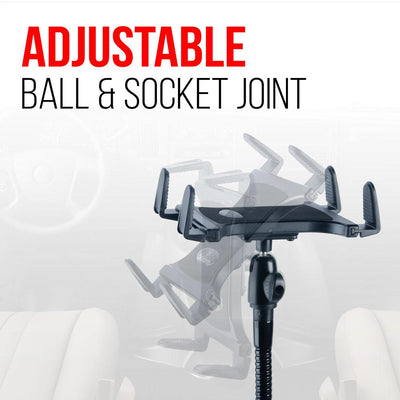 Tablet Mount for Truck | Industrial 28 Inch Steel Coil Flexible Gooseneck Seat Rail Device Holder - Adjustable - Ball & Socket Joint