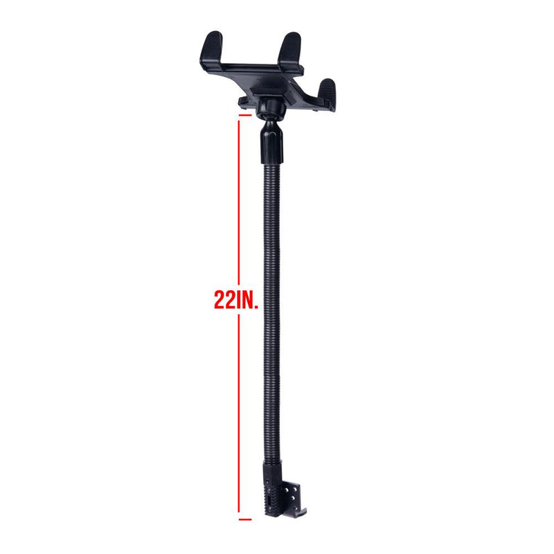Tablet Mount for Truck | Industrial 22 Inch Aluminum Rigid Gooseneck Seat Rail Device Holder for Taxi, Van, Vehicle, Semi. | iPad Compatible