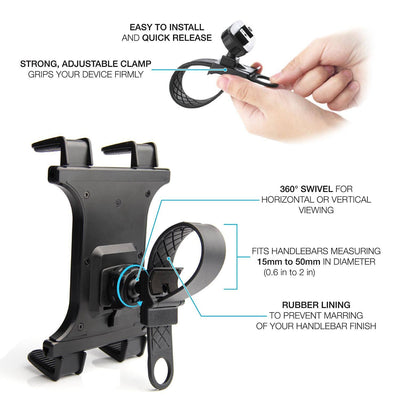 Tablet Holder for Treadmill, Spin Bike, Elliptical | Zip Tight | iPad Compatible