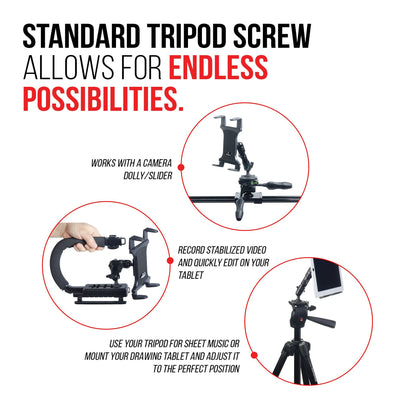 "Tablet Mount for Tripod - TACKFORM [Enduro Series] - All Metal Arm - Automotive Grade ABS Spring Loaded Cradle - 1/4""x20 screw thread - Compatible with iPad, Galaxy and more. Commercial Grade Parts"