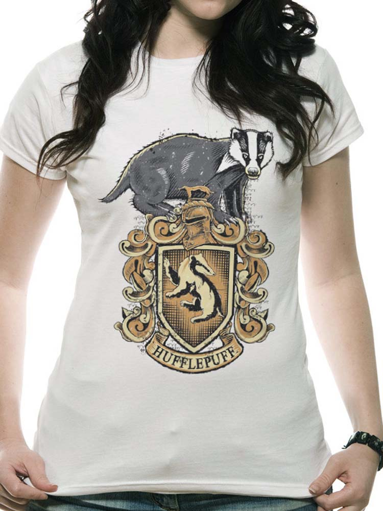 1535fa56 Harry Potter Hufflepuff Crest Women White Tshirt - Touch of Impression