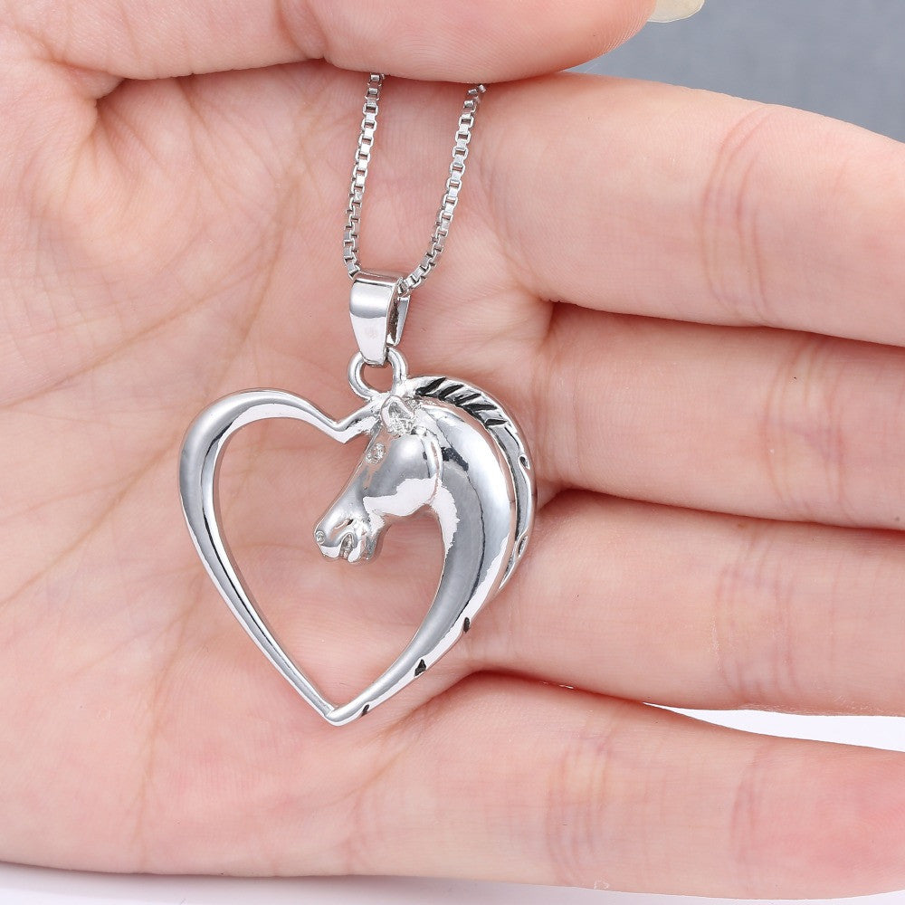 New white Horse in Heart Necklace