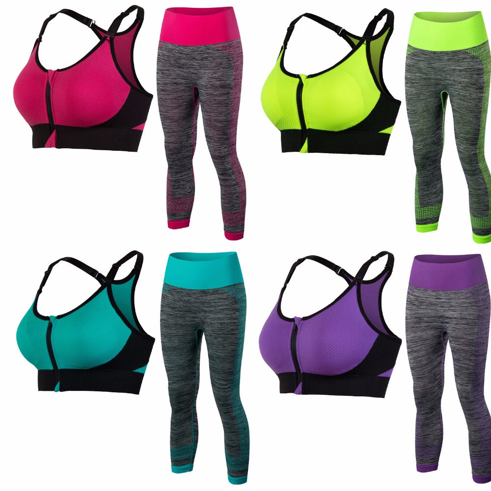 Women Shock Proof Breathable Yoga Sets Bra and Pants