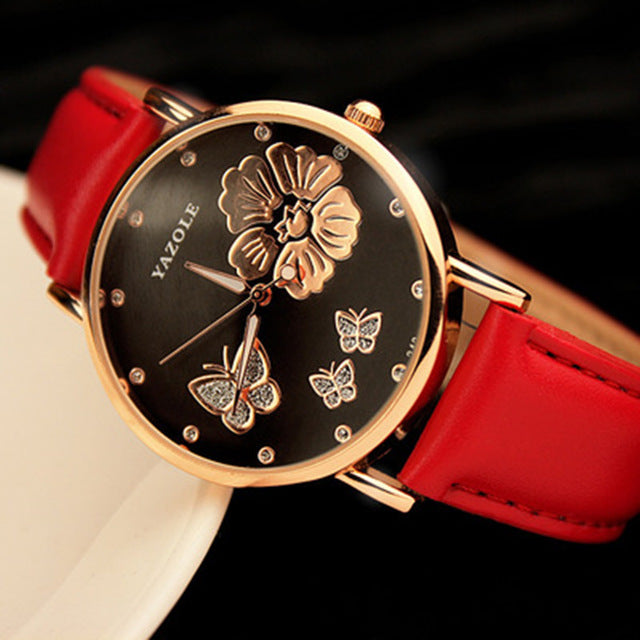 New Fashion Butterfly Genuine Leather Quartz Wristwatch for Women