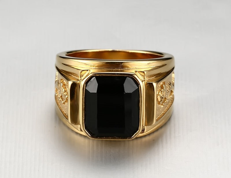 Men's Stainless Steel Ring with Black Stone