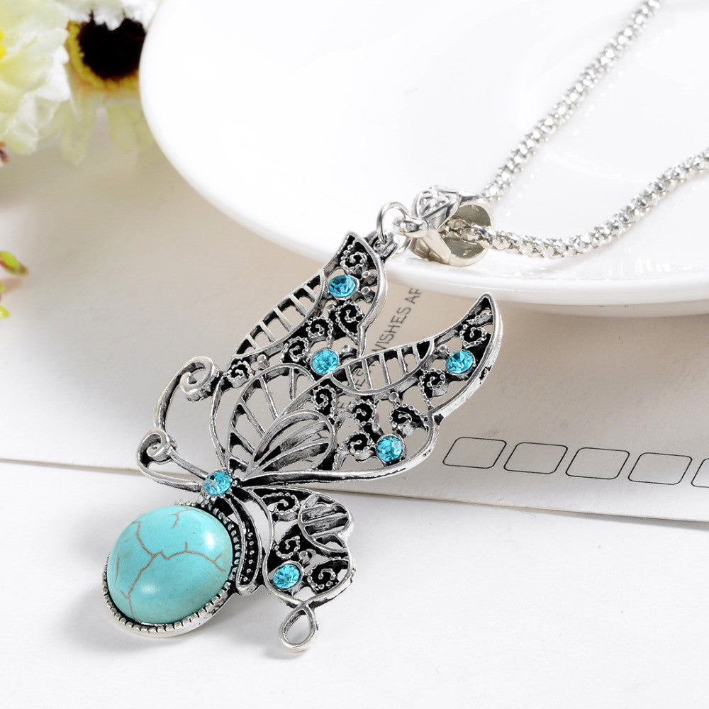 Beautiful Natural Stone Butterfly Necklace