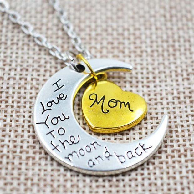 I Love You To the Moon and Back Silver Necklace for Mom and Family Choker Pendant Necklace