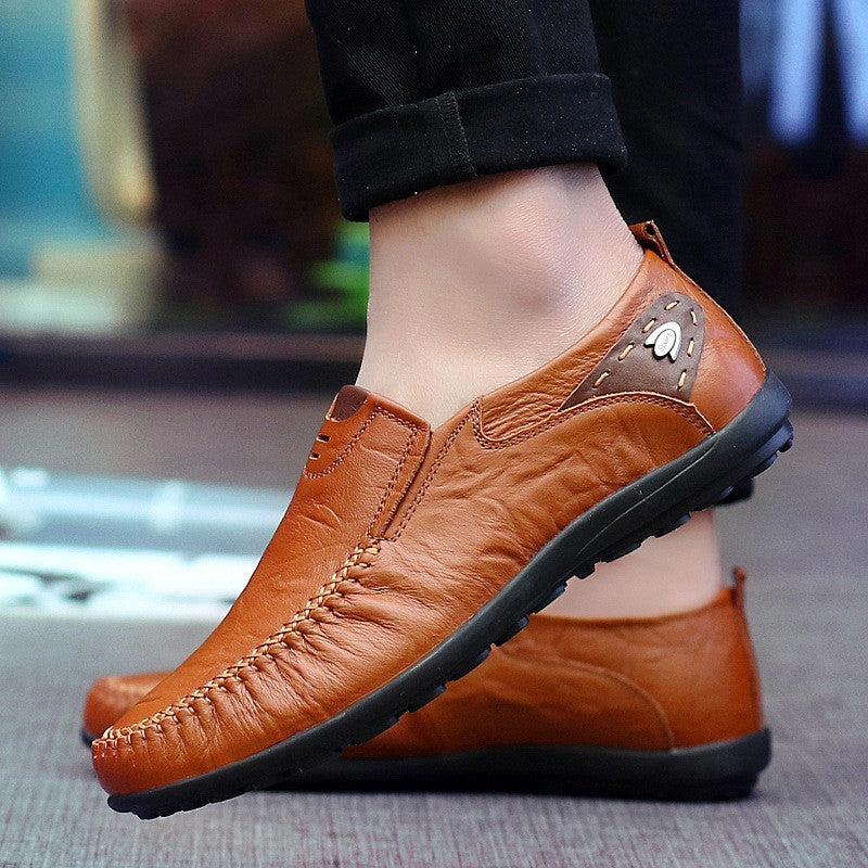 Men's Handmade Soft Leather Casual Loafers Flat Shoes big size 39-47