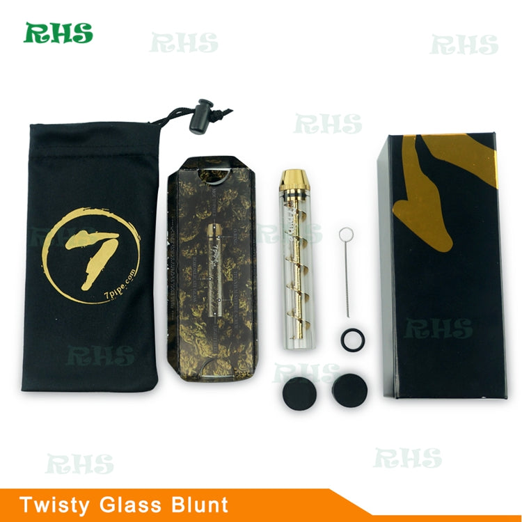 Premium Portable Mini Dry Herb 7 Pipe Twisty Glass Blunt