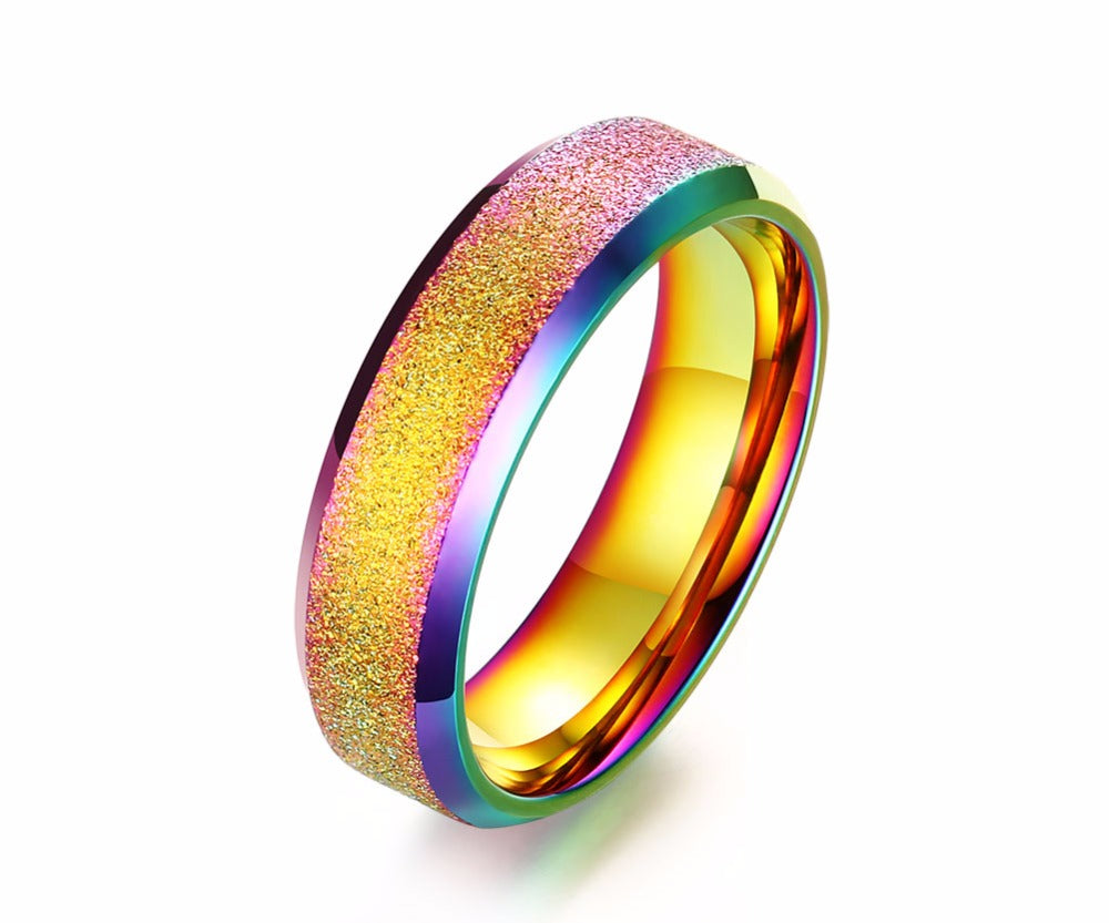 Unisex Rainbow Ocean Colours Stainless Steel Ring