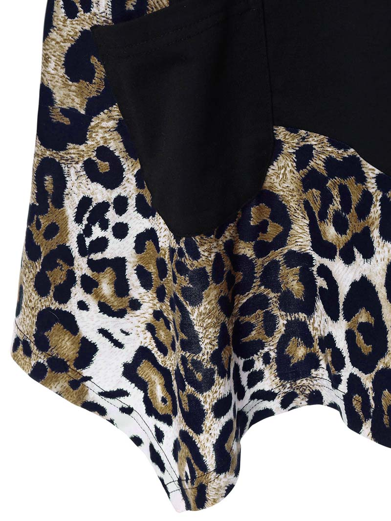 Plus Size Leopard Long Sleeve Asymmetrical Tops