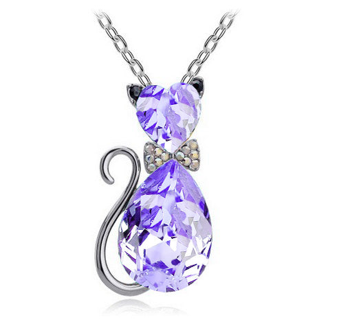 Crystal Cat Pendant Chain Necklace