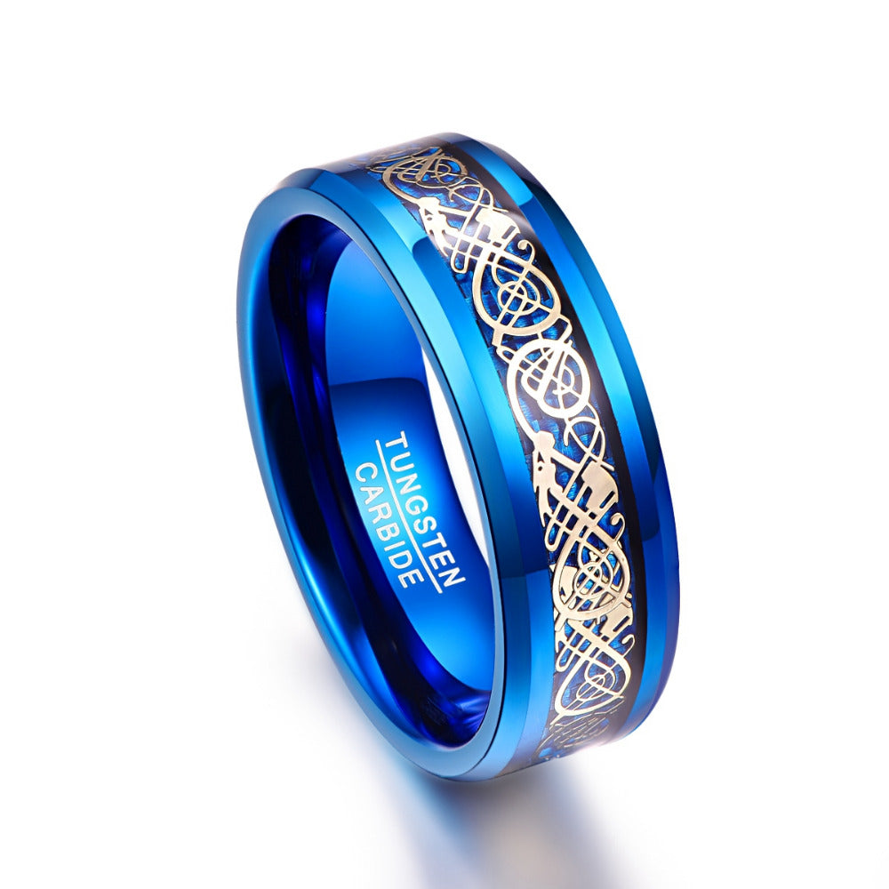 Men's 8mm Blue Tungsten Carbide Ring