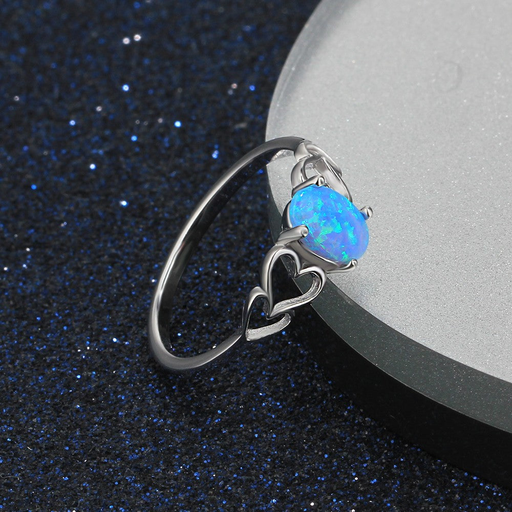 Ocean Blue Opal Engagement Ring 925 Sterling Silver