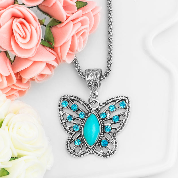 Antique Silver Crystal Butterfly Natural Stone Long Necklace
