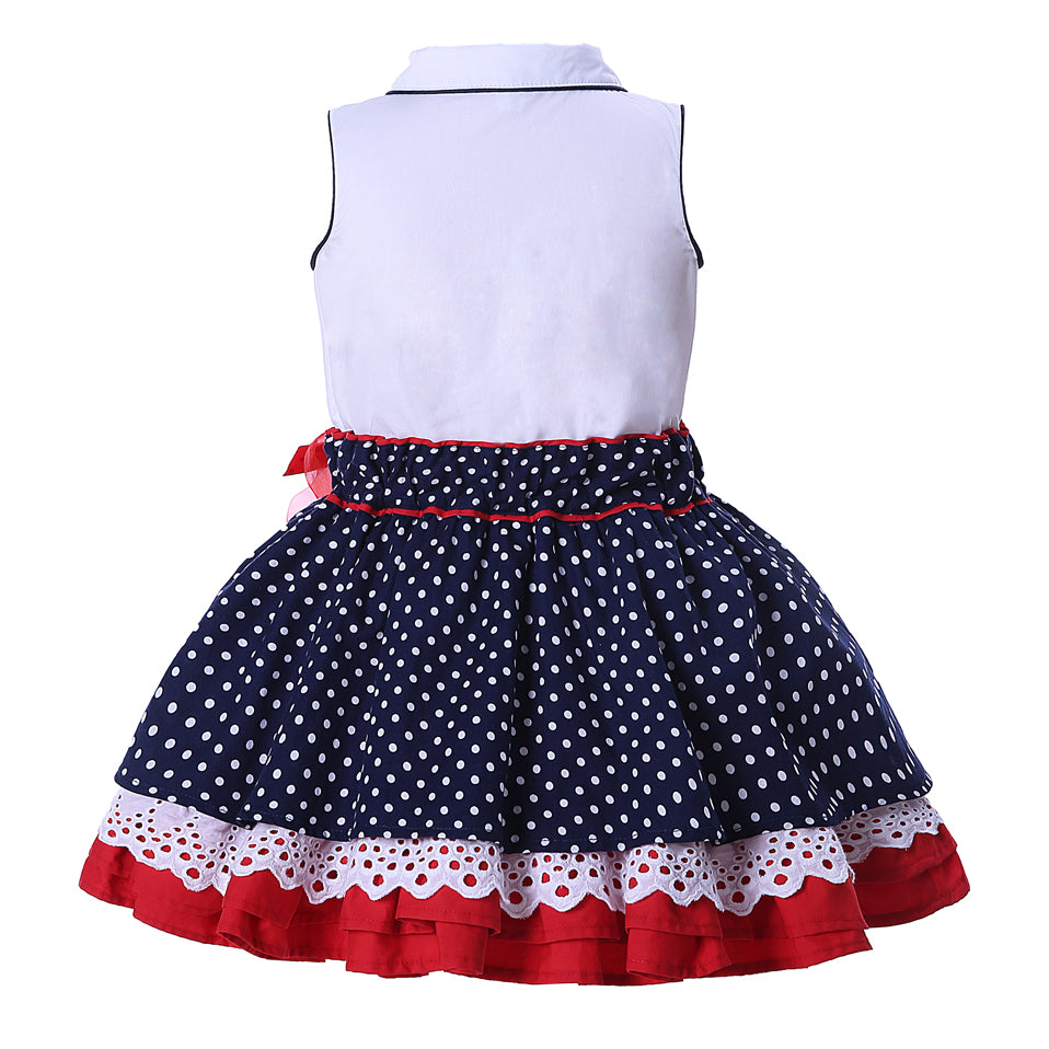 Latest Girl Sleeveless Dotted Collar Dress