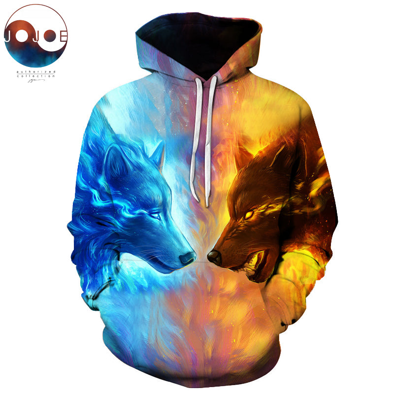 Ice Fire Wolf Hoodies by JoJoesArt 3D Men Women Sweatshirts