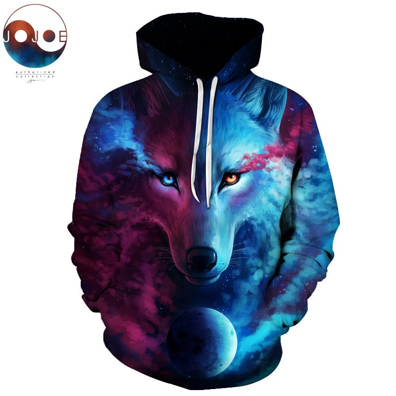 Where Light And Dark Meet by JoJoesart Wolf 3D Hoodies