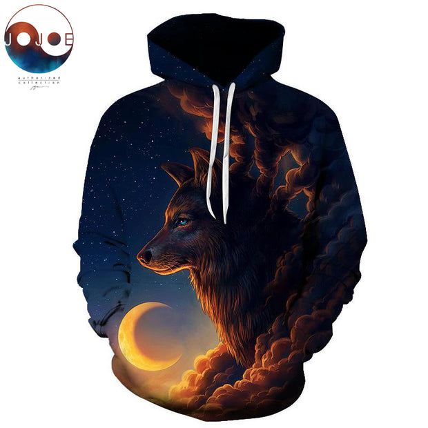 Night Guardian by JoJoesArt Wolf 3D Men's hoodies