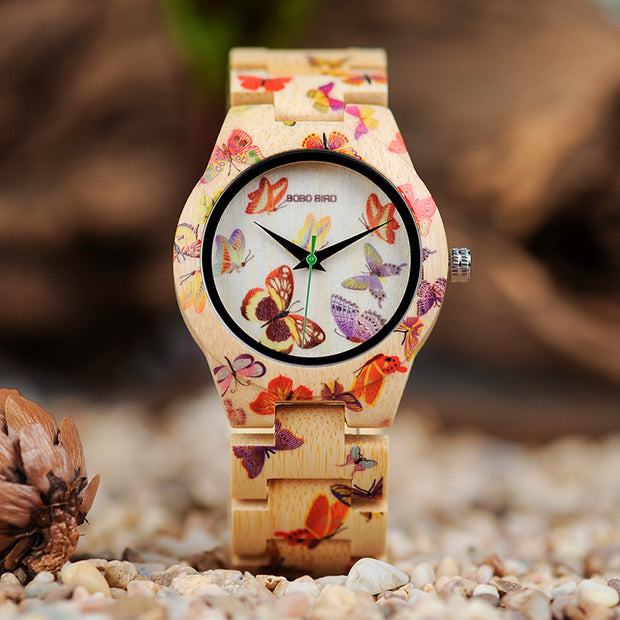 Butterfly Painting Bamboo Butterfly Painting Quartz Ladies Watches