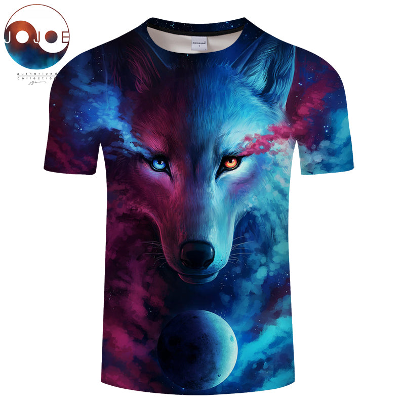 Where Light And Dark Meet by JoJoesart Wolf 3d T-shirt