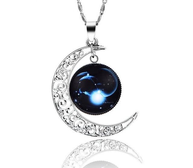 New Vintage 12 Constellation Zodiac Moon Pendants Necklaces for Women