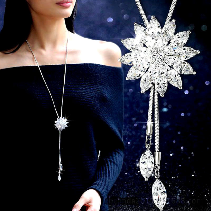 White Crystal Women Sunflower Long Necklace and Pendant
