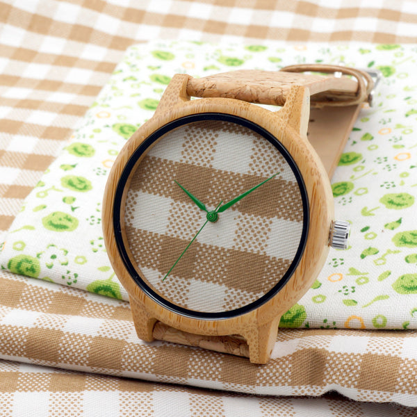 "WoodCork Watch ""plaid"""