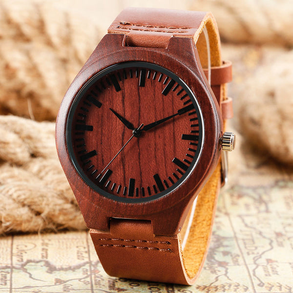 Brown Wood Leather Watch