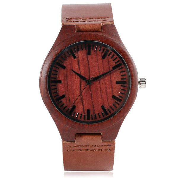 Walnut Wood Leather Watch