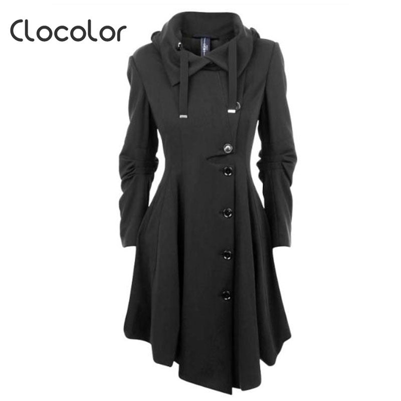 Clocolor Asymmetric Black Coat Stand Collar Long Sleeve Women Overcoat Elegant Single-Breasted Slim Fall Winter women coat - Jessikas Tops